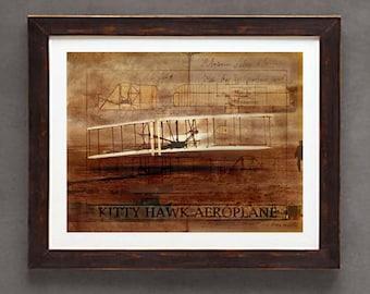 "Fine Art Print: -  ""Vintage Wright Brother's First Flight"" - 8"" x 10"" Giclee print, Historic Aviation, First Flight"