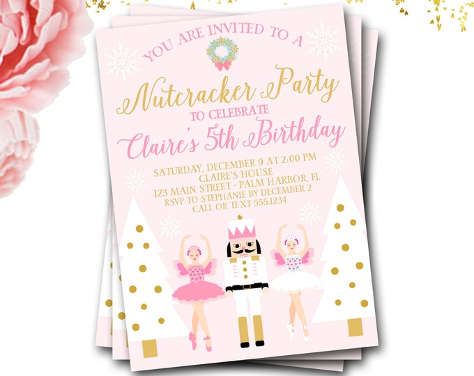 Nutcracker Birthday Invitation, Nutcracker Invite, Ballet Birthday Invitation, Winter Birthday Invitation, Nutcracker Invite, DIY Printable