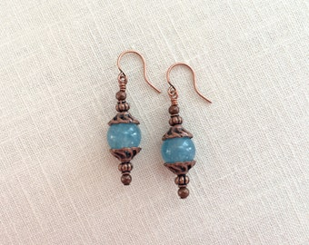 Antique copper bead drops. Blue gemstone earrings. Blue stone drop earrings. Antique copper dangle earrings. Blue angelite earings, dangle.