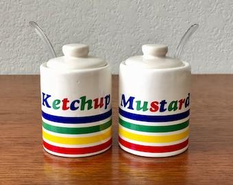 Op Art Ceramic Condiment Jars | Ketchup And Mustard