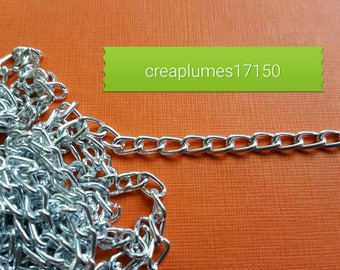 2 m brass chain of twisted aluminum silver 6x3.5mm