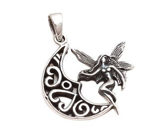 Emprell Oxidised Sterling Silver Plain Carved Half Moon Fairy Crescent Pendant