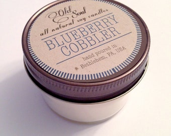 BLUEBERRY COBBLER.  4 oz.  Natural Soy Candle.  Hand-Poured.