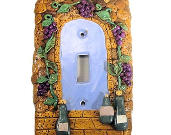 Decorative Light Switch Cover -Polymer Clay Wine Cellar -Tuscan Switch Plate Cover - Door way Switchplate