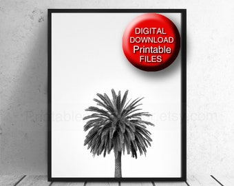 Black and White Palm Tree Print Tropical Wall Art 16x20 8x10 A4 5x7 11x14 A3