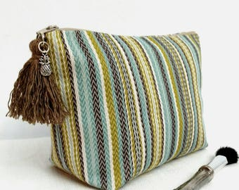 Stripes makeup bag/ tassel and charm/ cosmetic bag/ turquoise, brown stripes/ toiletry bag for women/ exchange gift for women/ coworker gift