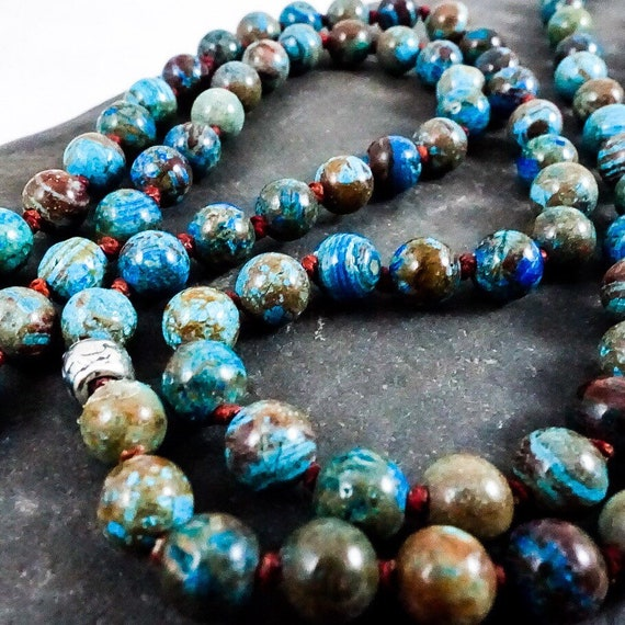 Knotted Blue Crazy Lace Agate Necklace