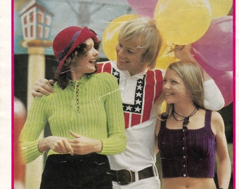 70s Vintage Boho Skinny Rib Knit Patterns Booklet Patons 966 from Australia ORIGINALS NOT PDF