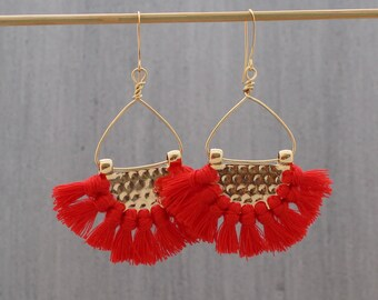 Chandelier Earrings - Red Tassel Earrings - Boho Tassel Earrings - Tassel Earrings - Fan Earrings - Half Circle Earrings, Tassle Earring