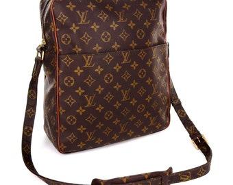 Authentic Vintage Louis Vuitton Brown Monogram Canvas Leather Marceau GM Oversized Crossbody Shoulder Bag