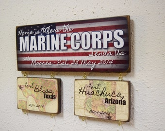 Marines Sign, Marine Corps Sign, Marine Wedding, Home is where the Marine Corps Sends Us, USMC License number 18094
