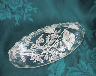 Vintage  Silver Overlay Celery Dish