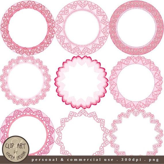 Digital Clip Art círculo Marcos bonitos corazones de color