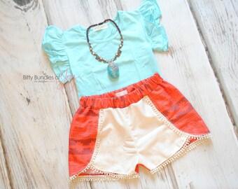 Moana Inspired Shorts - Coachella Shorts - Princess Outfit - Princess Shorts - MoanaOutfit - Moana Birthday Outfit