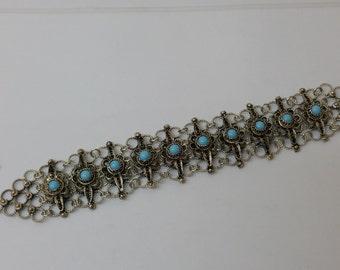 Silver bracelet Agate Light blue filigree Silver SA302