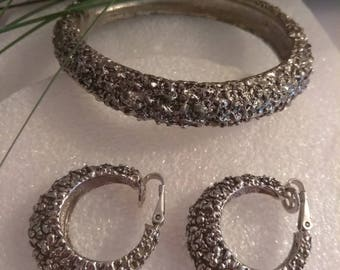 Vintage Silver Textured Cuff Bracelet and Earring Set, Accessories, Fashion Jewelry, Boutique