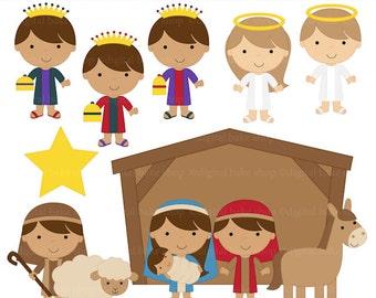 christmas clipart clip art christian nativity bible - Sweet Nativity Digital Clip Art - BUY 2 GET 2 FREE