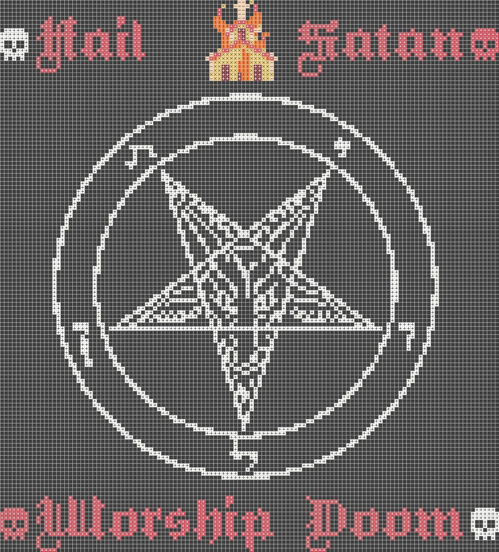 Hail satan worship doom cross stitch pattern dmc zoom biocorpaavc