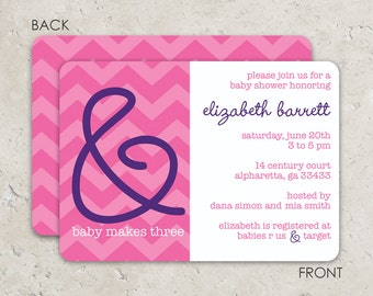 And Baby Makes Three Baby Shower Invitations . Two sided printing on ulltra heavy cardstock