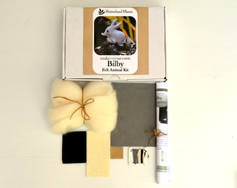 Easter KIT:/ Australian Bilby Wool Felt Animal softie - includes materials and pattern - DIY (Easter) Craft