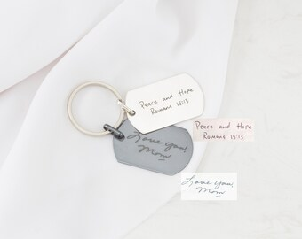 Custom Handwriting Jewelry • Handwriting Keychain • Handwriting Dog Tag • Signature Keychain • Gift for Him • Father's Day Gift • CM26