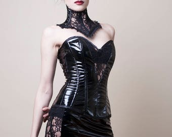 Black PVC & Lace Bustier/Corset-Made to Measure