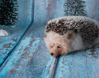 Needle Felted Hedgehog - Wool Woodland Animal Sculpture - Ready to Ship