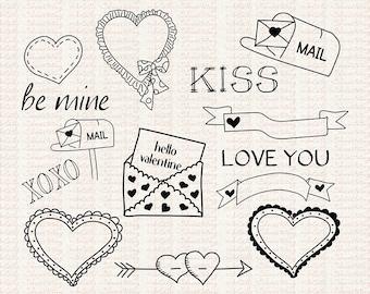 Hand Drawn Valentine Hearts Doodle Clipart, Printables, Instant Download, Jpg, Png, Commercial Use, Valentine Digital Images