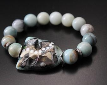 SALE Originally 134.00 Now 89.00 - Artisan lampwork mask bracelet, amazonite bracelet,  genuine diamond bracelet,  boho stretch bracelet
