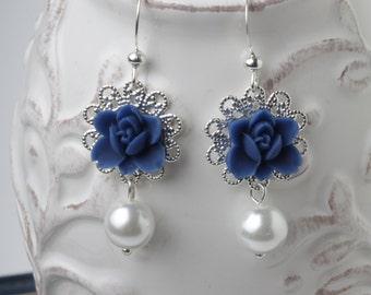 Bridesmaid earrings, Navy earrings, Navy flower earrings, Navy wedding earrings, garden wedding jewelry, flower earrings, Maid of honor gift