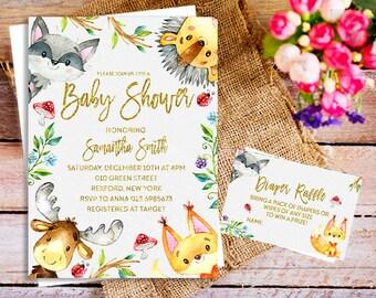 printable woodland baby shower invite, woodland baby shower invitation gender neutral, Sweet Woodland invitation, couple shower forest