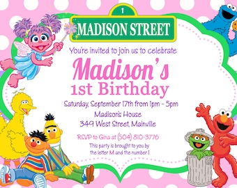 Sesame Street Birthday Party Invitation -  Digital or Printed