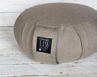 linen ZAFU cushion RUSTIC, eco BUCKWHEAT hulls fill, meditation cushion,Yoga pillow,sitting floor Pouf,hygge decor,wedding gift