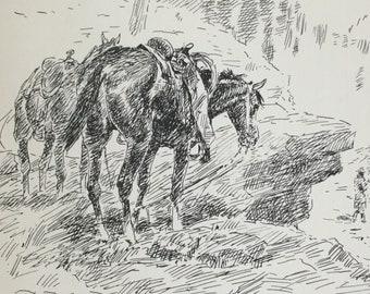 1930s Pen And Ink Drawing Texas Cowboys