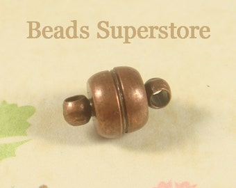 11 mm x 7 mm Antique Copper-Plated Brass Magnetic Clasp - Nickel Free and Lead Free - 4 sets