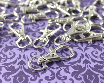 "500 Pack - 1.5"" Swivel Lobster Clasps - Silver Color - For Keys, Lanyards, and Jewelry - Rotating Clasp Connector - 1 1/2 Inch by 5/8 Inch"