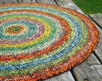 Summer meadow farmhouse multicolor crochet rug, farmhouse crochet rug, crochet round rug, crochet area rug, crochet floor rug, farmhouse rug