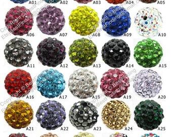 100 pcs 10mm Clay crystal ball Disco ball Rhinestone pave beads beaded bracelet making