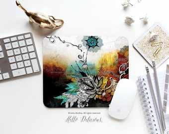 "Mouse Pad ""Frozen Dreams"" by Iveta Abolina Floral Mouse Pad Mouse Mat Floral Mouse Pad Office Mousemat Heart Mousemat Mousepad Round 133."