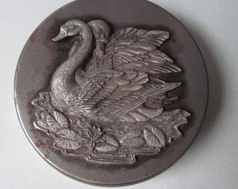 Vintage Metzke Pewter Tin with Swans