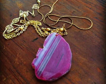 Long Gold Isabella Necklace with Pink Quartz Geode Pendant