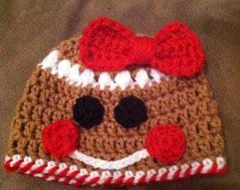 Gingerbread boy or girl hat Pattern Size newborn to 12 months size