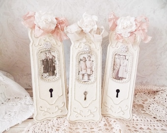 Shabby Door Plate Picture Frames Set of 3 Home Decor