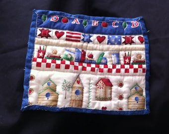 Quilted Bird School House Wall Hanging, Quilted Wall Hanging, Home Decor, Bird House Wall Hanging, Teachers Gift