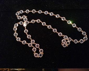 Swarovski Crystal Bezel Necklace, Gold Tone Metal, Unsigned