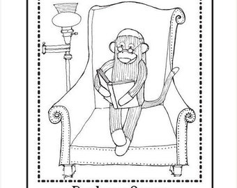 May Sale Personalized Ex Libris Bookplate Rubber Stamp Sock Monkey Reading Original Art C10 featured artist