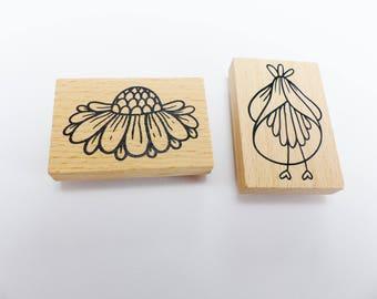 2 4 x 6 cm flower wooden stamp