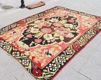 large kilim rug, kilim 7.5x10.5, kilim rug large, rug feet oushak large kilim vintage, unique kilim rug,