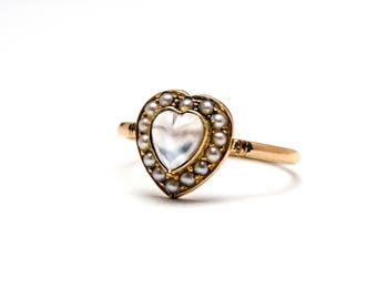 SOLD to C *** 15k Victorian Moonstone Heart Ring