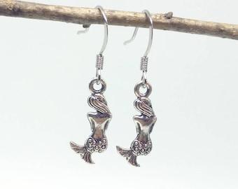 Mermaid Earrings - Tibetan Silver Mermaid Earrings on Nickel Free Ear Hooks - Mermaid Jewelry Charms - Mermaids - Mermaid Accessories